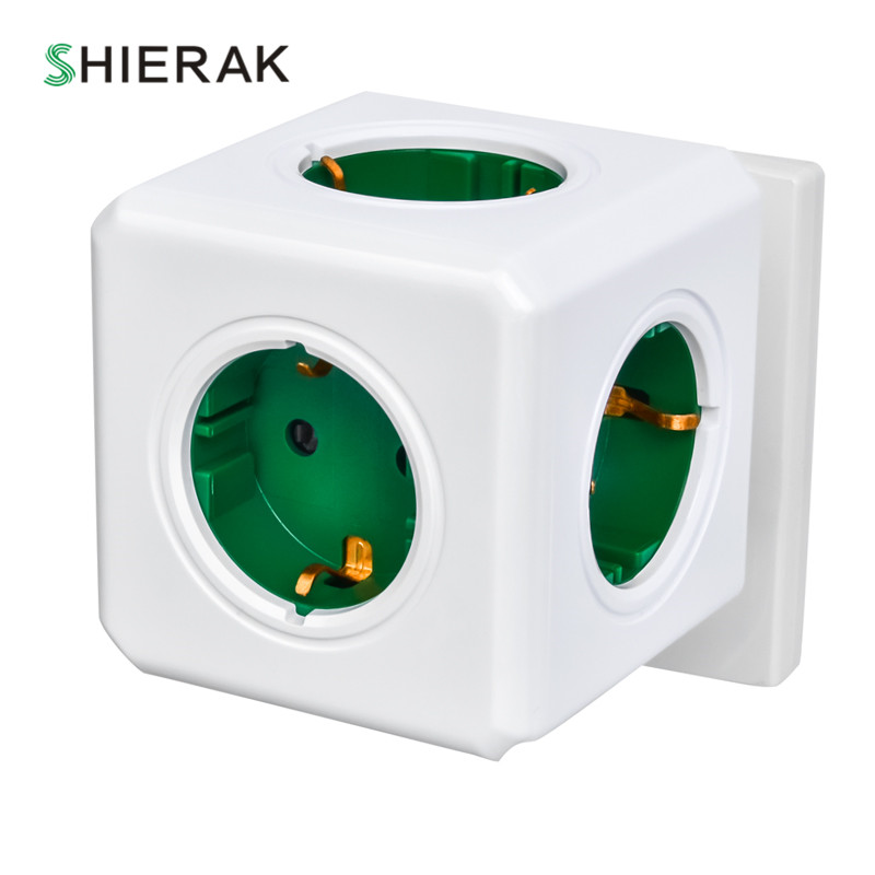 цена на SHIERAK Smart Home Power Cube Socket EU Plug 4 Outlets Without USB Creative Green Power Strip Adapter Multi Switched Sockets