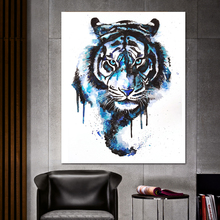 Animal painting abstract tiger head poster watercolor animal print pop art canvas voor woonkamer Nordic wall decorative