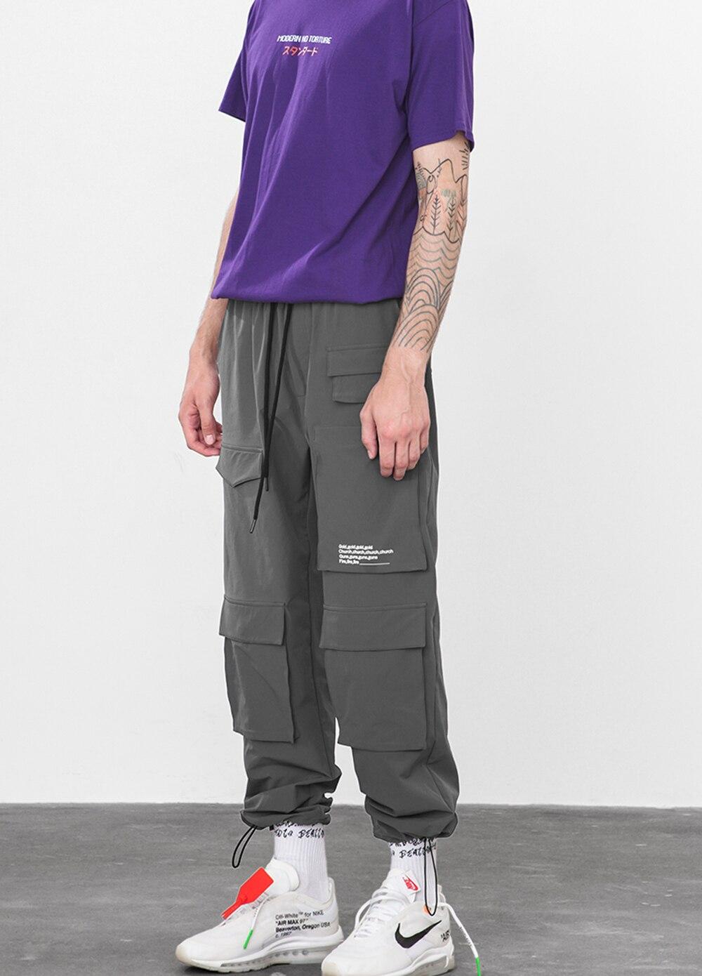 2018 Autumn Buckle Straps Cargo Pants New Arrival Elastic Waist Vintage Harem Pants Hip Hop Casual Streetwear Joggers Sweatpants
