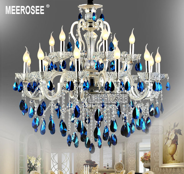 Modern Large 18 Arms Silver Crystal Chandelier Light Blue Re Hanging Lamp Fixture For