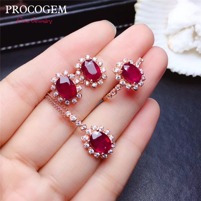 Authentic Natural Heated pigeons - blood Ruby Jewelry sets for Women Wedding 1.55Ct Real gemstones fine Jewelry S925 Silver #479