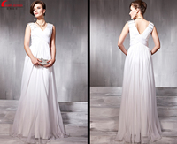 free shipping 2014 new fashion vestidos robe de soiree formales white long crystal sexy v neck chiffon gown party evening Dress