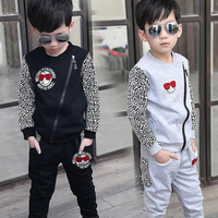 Hot Boys Leopard Spliced Clothing Set 2018 Spring Fall Children's Sports Clothes Suit 3 11 Yrs Old Kids Slim Fit Tracksuit X293