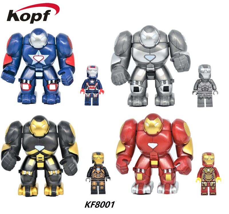 Super Heroes Big Size Hulk Buster Iron Man Ultron Tony Stark War Machine Bricks Set Model Building Blocks Kids Gift Toys KF8001 marvel super heroes avengers wonda iron man mk anti hulkbuster thor vision ultron assemble building blocks minifig kids toys