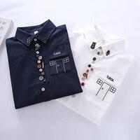 Dioufond Cotton Oxford Shirts Women Navy White Blouses Harajuku Casual Tops Female School Shirts Autumn Women