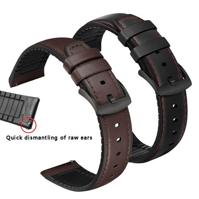 Watchband 22mm Silicone + Leather 2in 1 Strap Fashion Mens Replacement Wristband For Huawei watch Pro/GT Quick release