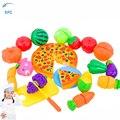24 pçs/lote XFC Crianças Crianças Cozinha Fruta Vegetal Presente Brinquedo Brinquedo Cozinha De Corte De Pizza