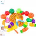 24pcs/lot XFC Children Kids Kitchen Food Fruit Vegetable Pizza Cutting Toy Cooking Toy Gift