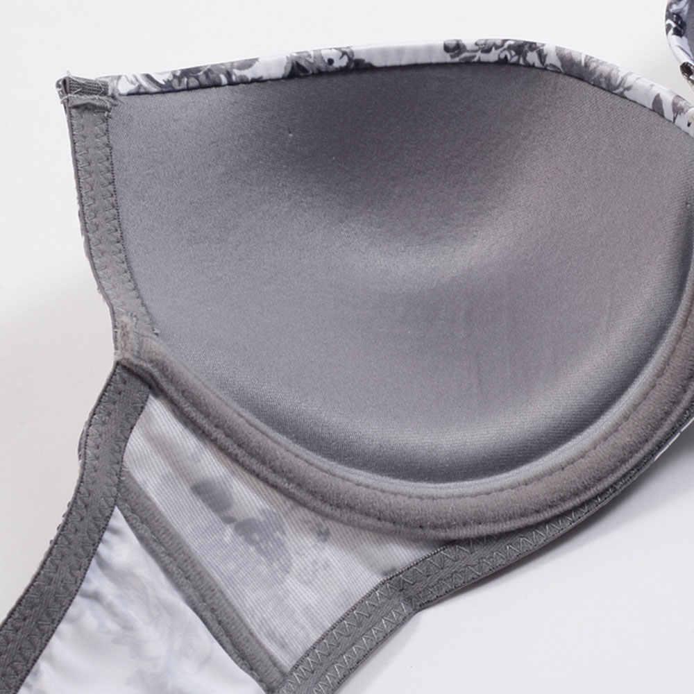 Lingerie Set Imbottito Sexy Stampa Bra e Panty Perizoma Convertibili Cinghie Push Up Biancheria Intima Delle Donne Profondo Scollo A V Nero Bianco Intimo