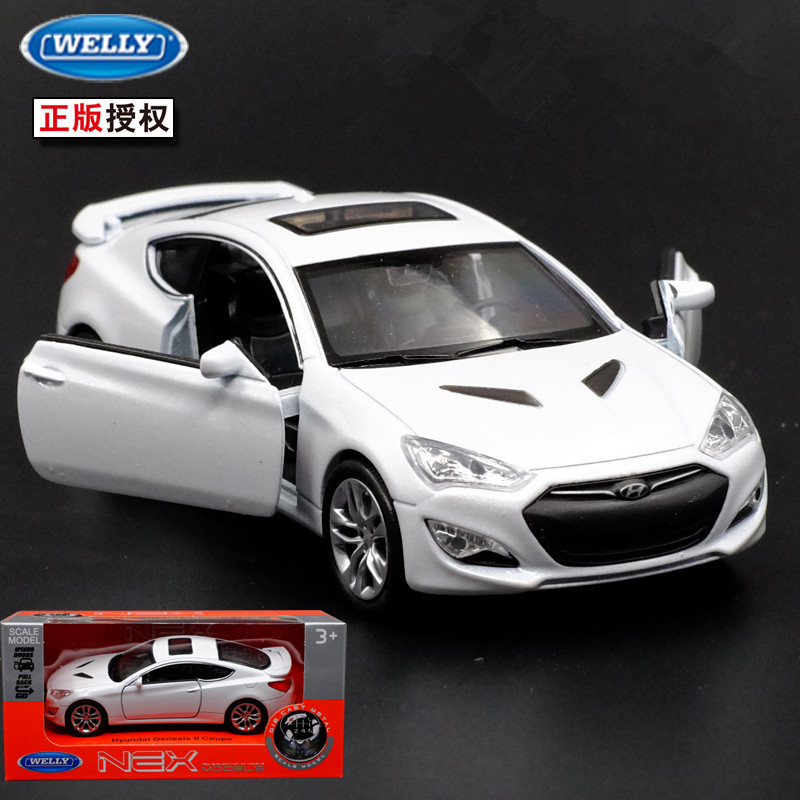1pc 1:36 11.5cm WELLY HYUNDAI Genesis ll coupe car pull back alloy model vehicle home decoration boy toy gift