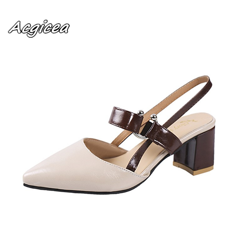 2019 Spring Hollow Coarse Sandals High-heeled Shallow Mouth Pointed Baotou Shoes Women Female Sexy High Heels Large Size35-42