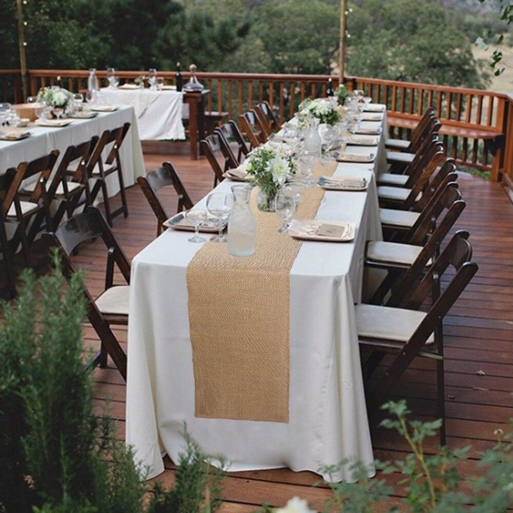 Ourwarm Vintage Sackleinen Tisch Laufer Fur Hochzeit Dekoration
