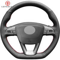 LQTENLEO Black Artificial Leather Car Steering Wheel Cover For Seat Leon Cupra Leon ST Cupra Leon ST Cupra Ateca Cupra Ateca FR