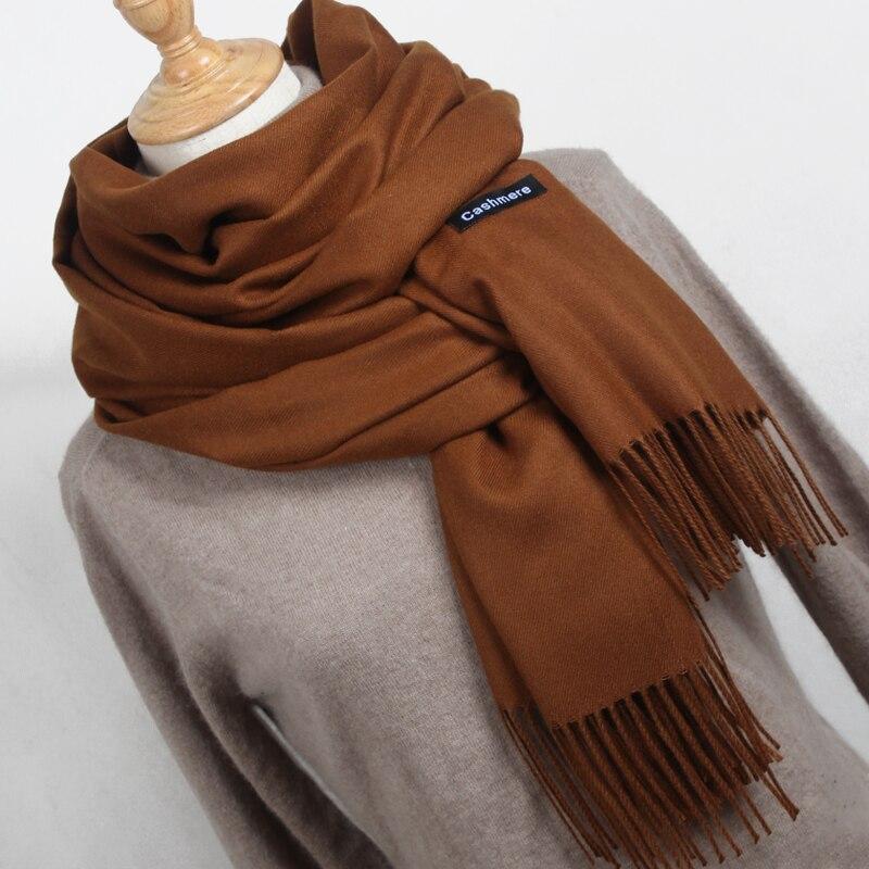 Новый стиль зимний шарф Для женщин шарф женский Чистый цвет шарф best качество кашемира Ленточки Для женщин Обертывания YR001 ...