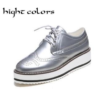 2016 New Womens Winged Oxford Lace Up Striped Platform Silver Black Fashion Vintage Platform Bullock Flat Shoes Woman Size 10.5 brassiere