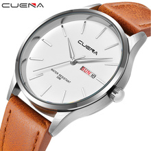 CUENA Men's Wristwatch Quartz Wrist Watch Men Waterproof Leather Strap Watches Mens Luxury Brand Fashion Montre Homme Male Clock купить недорого в Москве