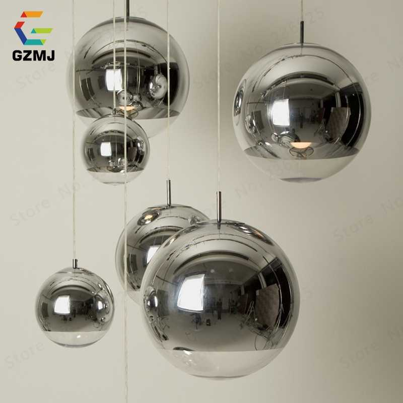 GZMJ стеклянный подвесной светильник, современный подвесной потолочный светильник, золотой серебряный шар, подвесной светильник для бара, ресторана, кафе, домашнего декора