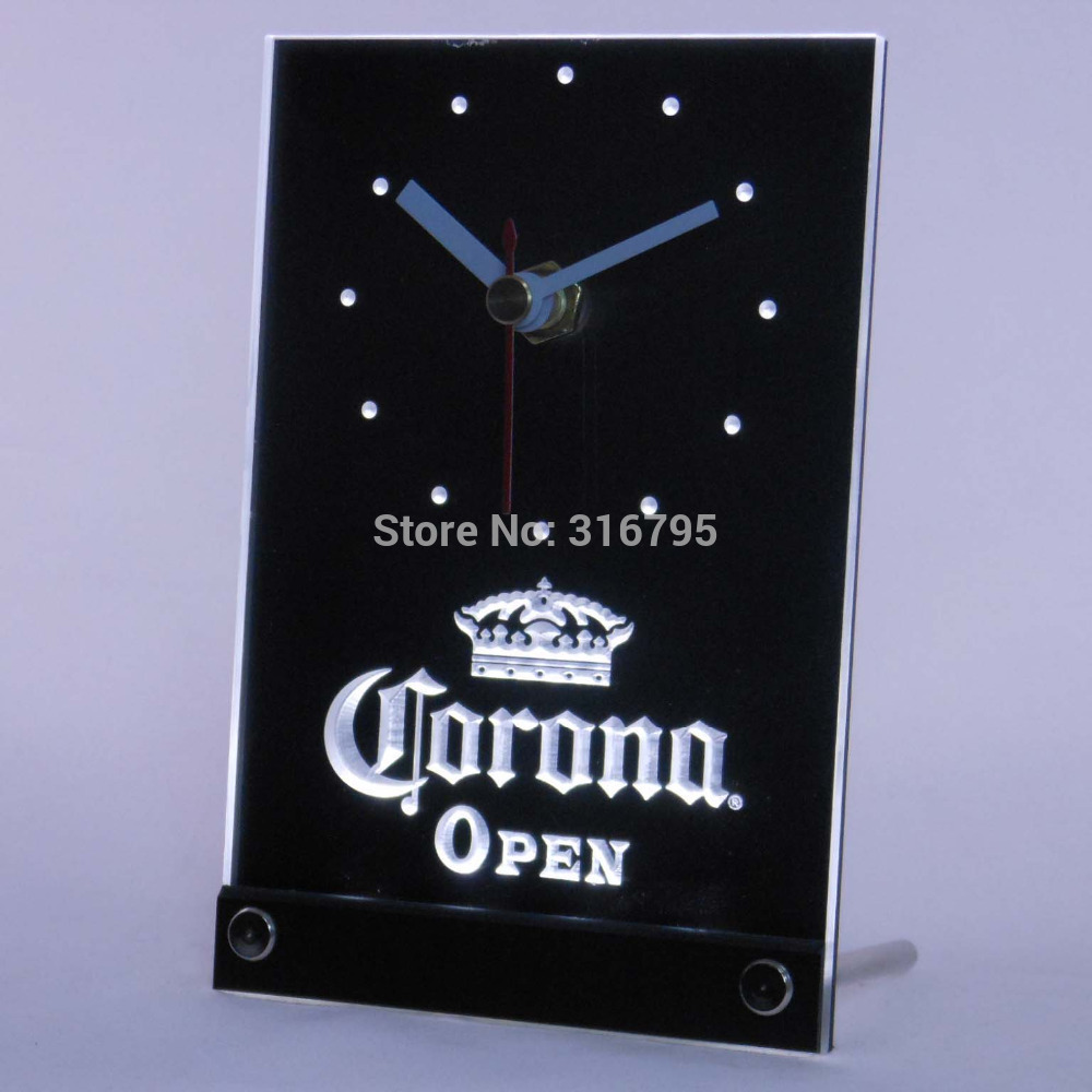 tnc0109 Corona OPEN Beer 3D LED Table Desk Clock