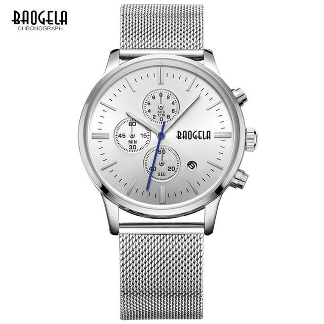 Montres Hot Sale New Brand BAOGELA Fashion Men Calendar Luminous Silver Metal Mesh Band Waterproof Business quartz watch Chasy цена и фото
