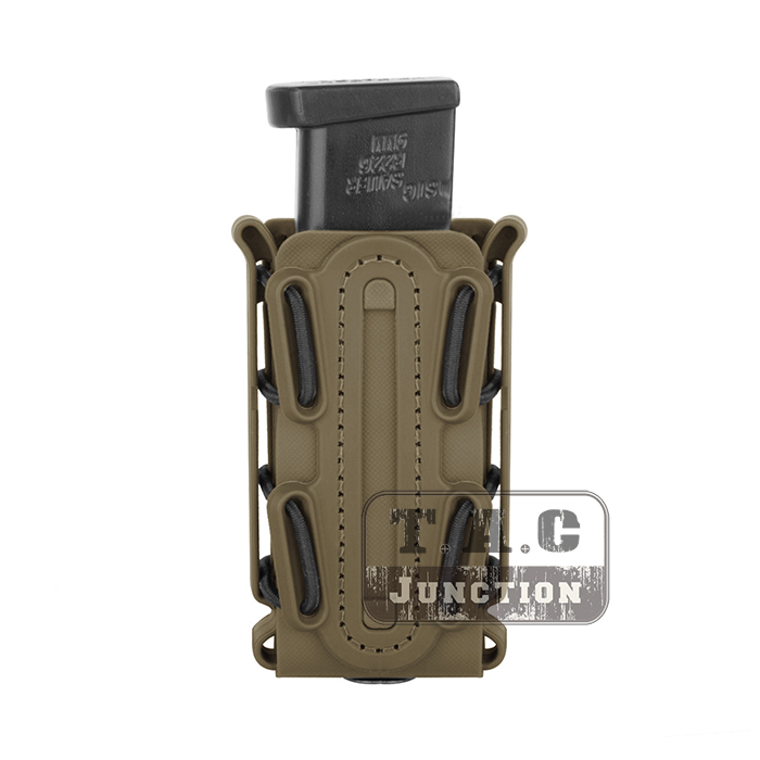 Tactical Scorpion Soft Shell 9mm Pistol Single Stack & Double Stack .45 Caliber Magazine Pouch Carrier Tall w/ Duty Belt Loop