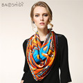 100% Pure Silk 90*90 Large Square Scarf, BAOSHIDI Luxury Brand collection,original design Elegant Lady's gift, manual printing
