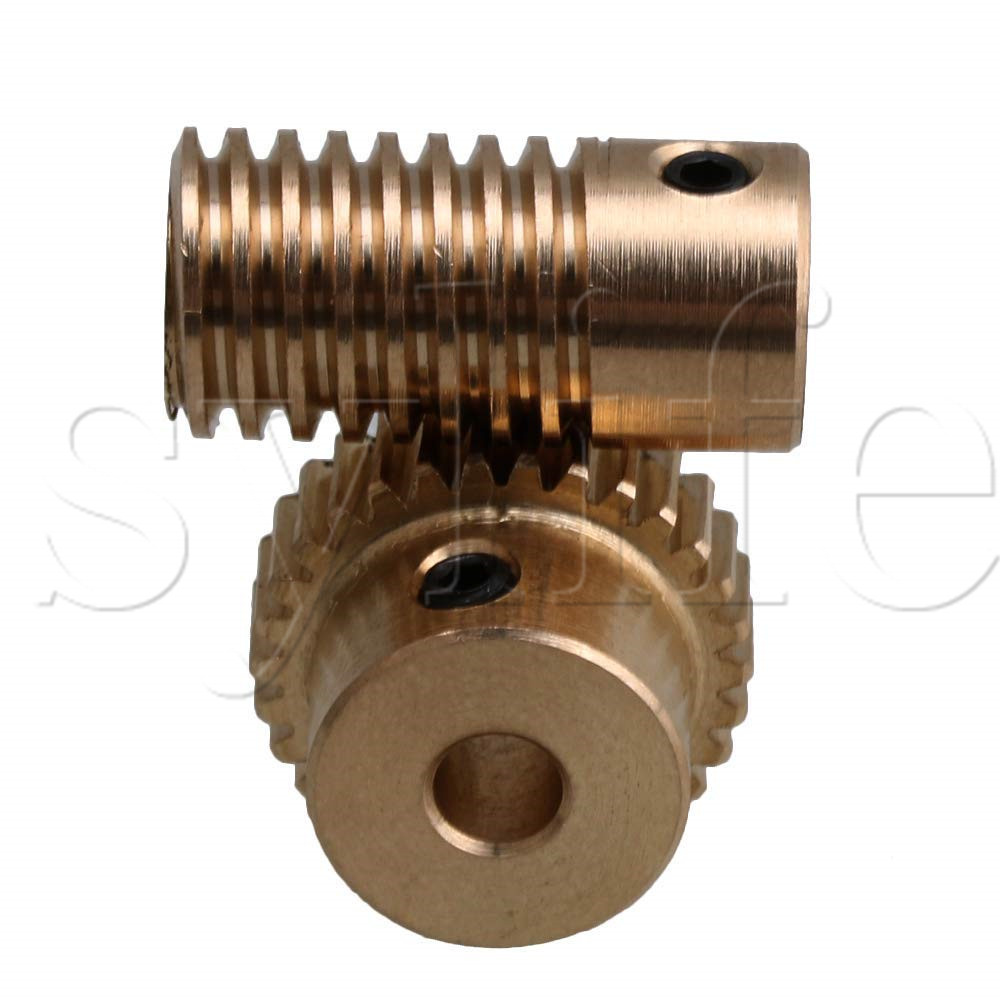 30 Teeth Golden Yellow Metal Worm Gear Set with 4mm Hole Wheel and 3.17mm Hole Shaft 30 Teeth Golden Yellow Metal Worm Gear Set with 4mm Hole Wheel and 3.17mm Hole Shaft