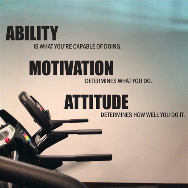 Gym Wall Decals Vinyl Poster Motivational Fitness Quotes Stickers Ability Motivation Atude Decor