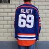 MeiLunNa Christmas Black Friday Movie Film Ice Hockey Jerseys 69 Doug Glatt Jersey Blue