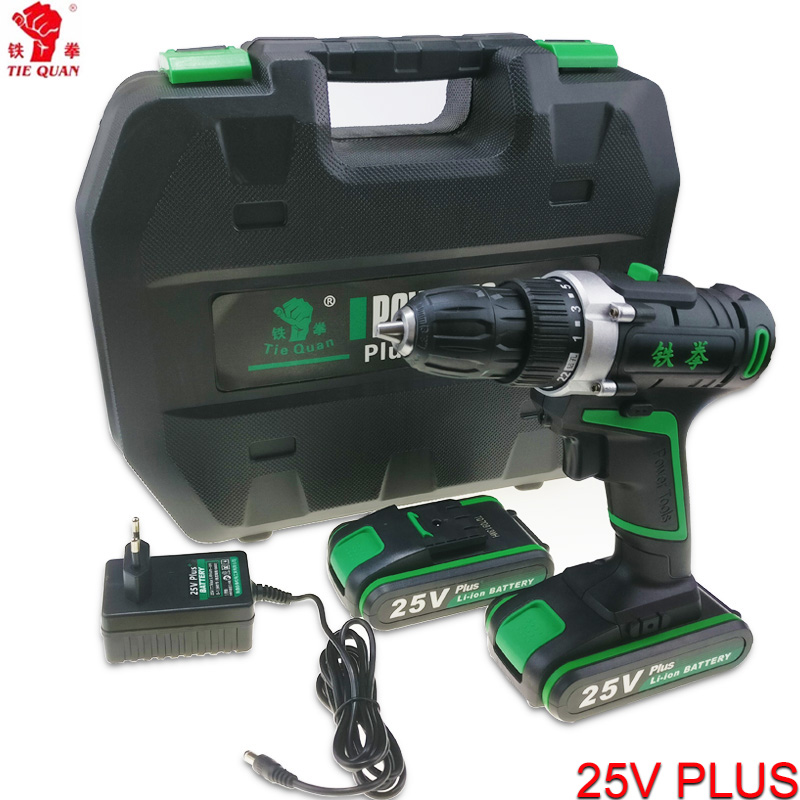 25V power tools Cordless Drill electric Drill Electric 2 Batteries Screwdriver Mini Drill electric drilling electric screwdriver free shipping brand proskit upt 32007d frequency modulated electric screwdriver 2 electric screwdriver bit 900 1300rpm tools
