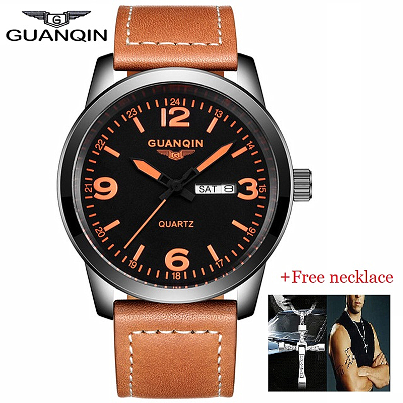 NEW GUANQIN Mens Business Watches Top Brand Luxury Waterproof Week Date Leather Strap Quartz Watch Montre Homme