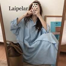 Laipelar женское летнее Свободное длинное платье рубашка Женские