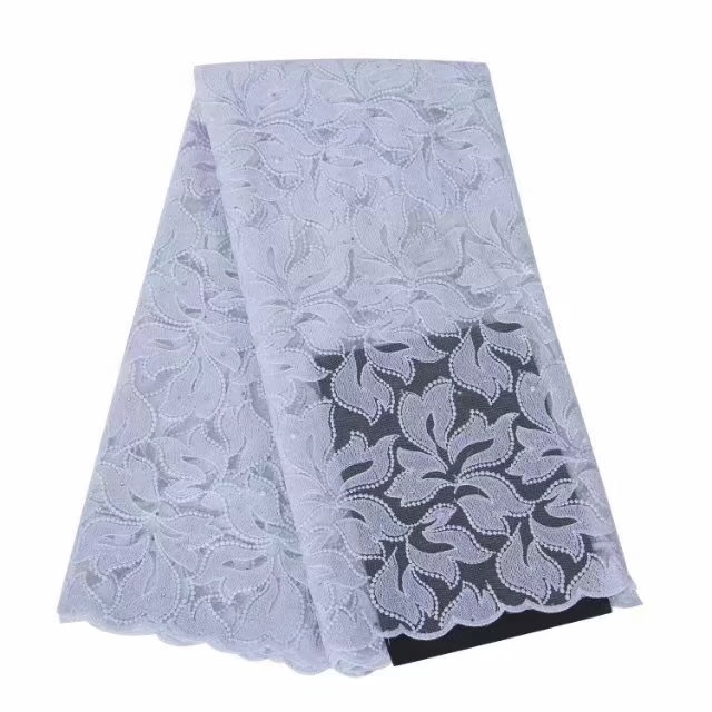 2018 High Quality African Lace Fabric Pure White French Net Embroidery Tulle Lace Fabric For Nigerian Wedding Party Dress