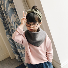 New solid color diamond scarf for children Korean style autumn and winter baby fringed scarf boys and girls tide to keep warm