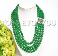 Hot selling@> wholesale natural 8mm 4row round green jade necklace 925 silver clasp -Bride jewelry free shipping