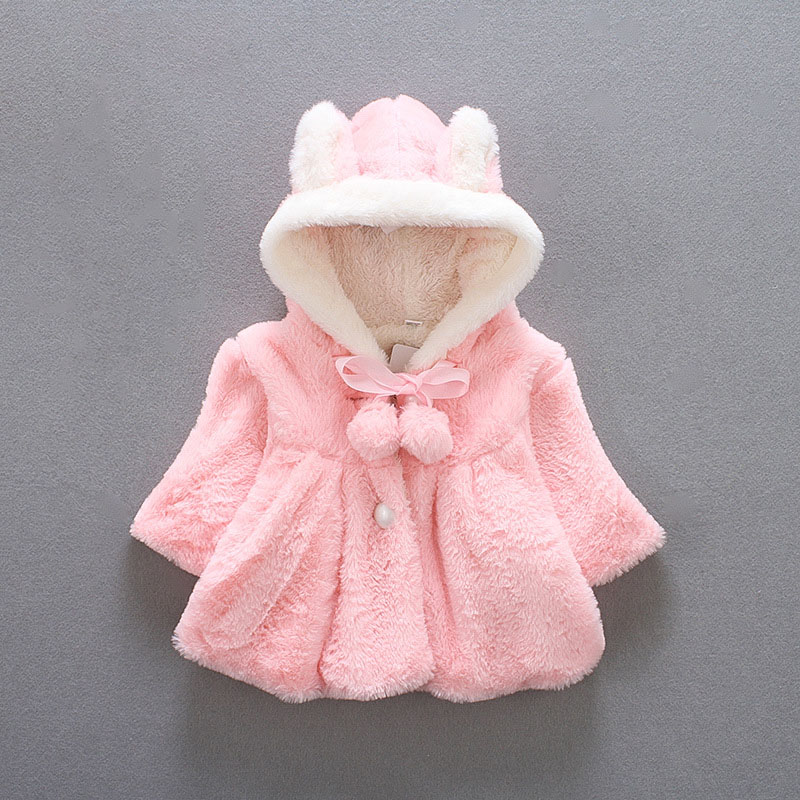 Fashion Baby Little Girl Fur Winter Warm Hooded Coat Cloak -7670