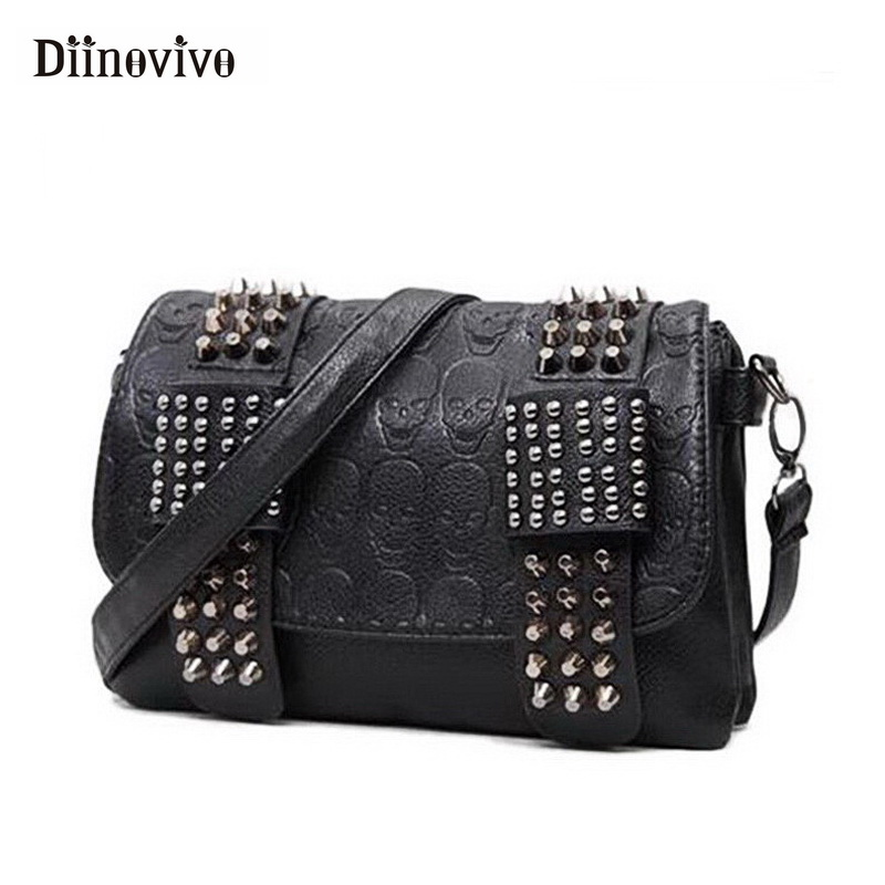 DIINOVIVO 2019 New Rivet Women Bag PU Leather Shoulder Bags Skull Bag Punk Crossbody Bag For Women Chain Messenger Bag WHDV0934(China)