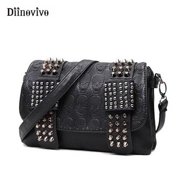 DIINOVIVO 2021 New Rivet Women Bag PU Leather Shoulder Bags Skull Bag Punk Crossbody Bags For Women Chain Messenger Bag WHDV0934 1