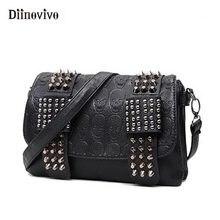 5164ae814821 DIINOVIVO 2018 новые модные женские черные кожаные сумки-мессенджеры Модные Винтажные  Сумки-мессенджеры с крутым черепом с закле.