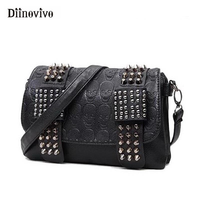 DIINOVIVO 2019 New Rivet Women Bag PU Leather Shoulder Bags Skull Bag Punk Crossbody Bags For Women Chain Messenger Bag WHDV0934