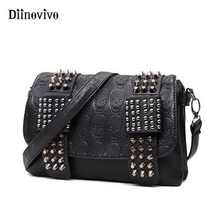 DIINOVIVO 2019 New Rivet Women Bag PU Leather Shoulder Bags Skull Bag Punk Crossbody Bags For Women Chain Messenger Bag WHDV0934 - DISCOUNT ITEM  52% OFF All Category