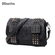 DIINOVIVO 2020 New Rivet Women Bag PU Leather Shoulder Bags Skull Bag Punk Crossbody Bags For Women Chain Messenger Bag WHDV0934