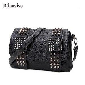 DIINOVIVO 2020 New Rivet Women Bag PU Leather Shoulder Bags Skull Bag Punk Crossbody Bags For Women Chain Messenger Bag WHDV0934