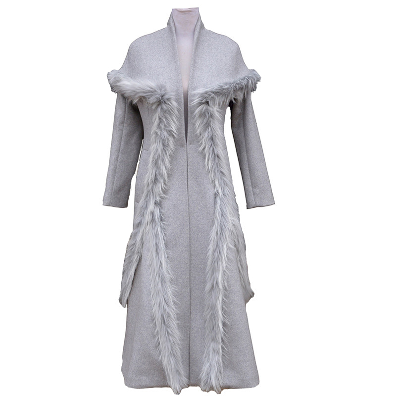 Élégante 2382 2019 Manteau Taille De Plus Mode Femme Mince Femmes Automne Gray Rallongent La Splice Vestes Fourrure Hiver Manteaux Laine IBOx4wqnxU