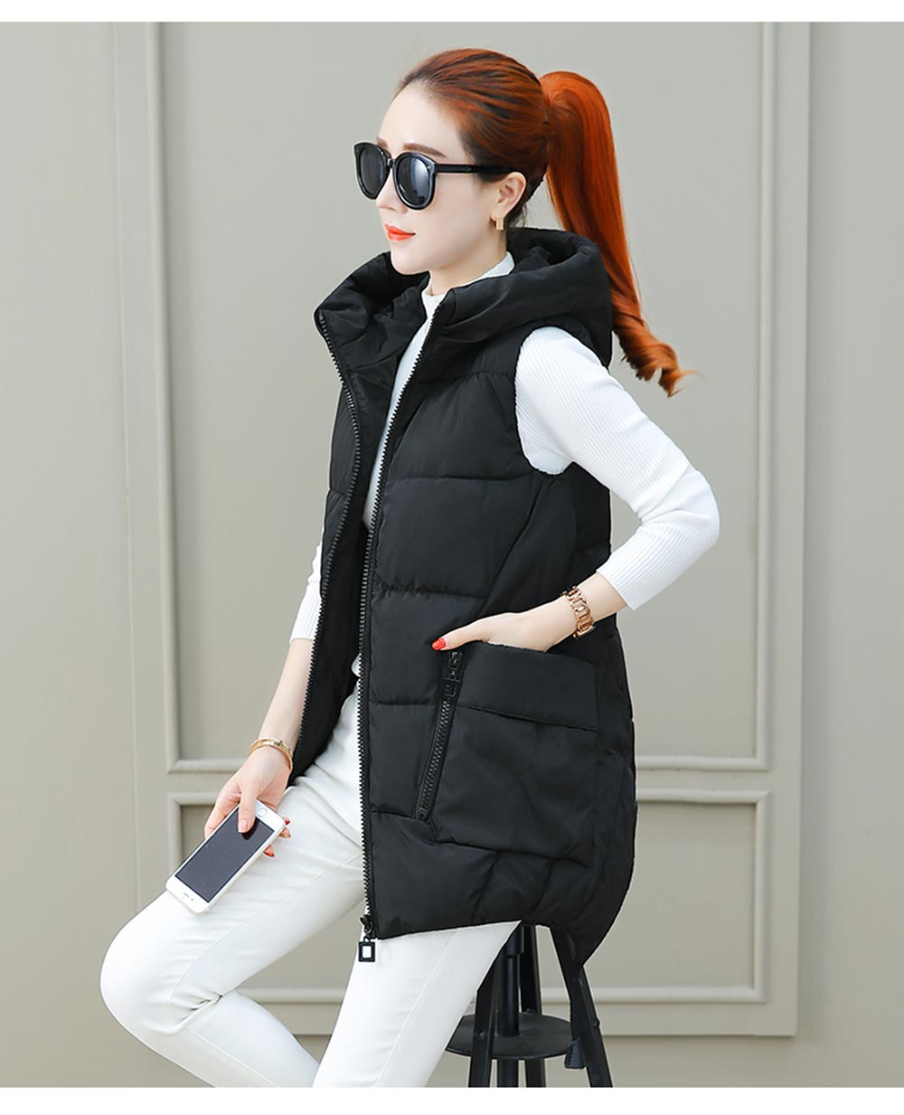 Waistcoat Hooded Cotton discount 15