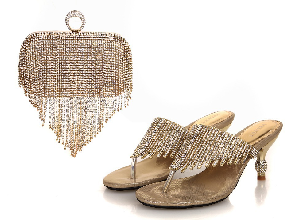 c90c7784ed6e7 African Fashion GOLD Shoes and Matching Bags set for women, with plenty  stone and Italian Shoes and Bags for wedding!RL1 7-in Women's Pumps from  Shoes on ...