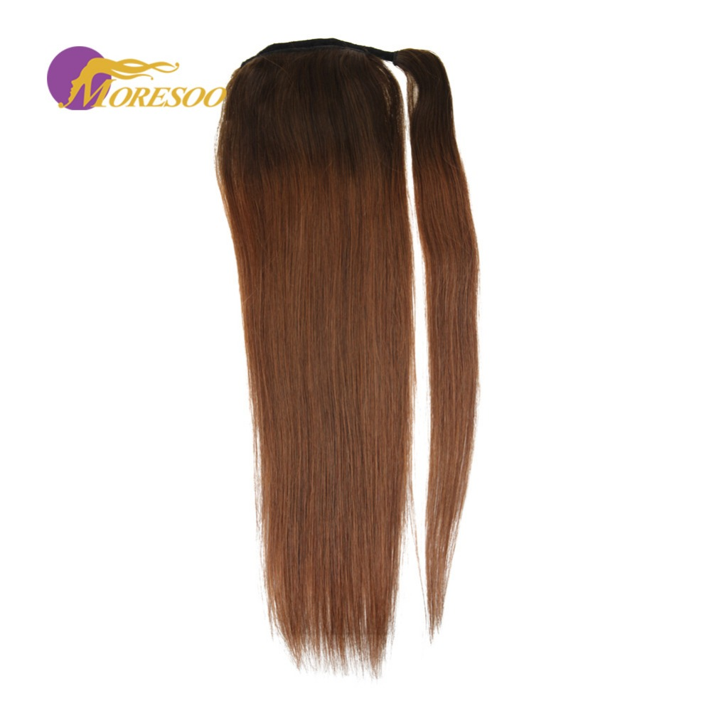 Moresoo Straight Human Hair Ponytail Ombre Color Brown #4 To Brown #30 Real Hair Wrap Around Pony Tail Remy Hair 100g