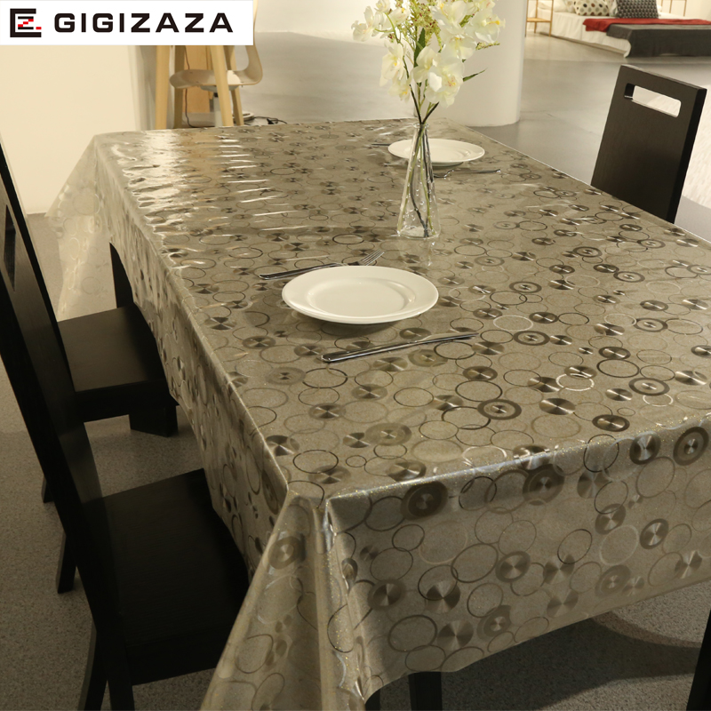 PVC European Style Gold Square Table Cloth Waterproof Oil Proof Non Wash Plastic Pad Anti Hot Coffee Tablecloth C4041