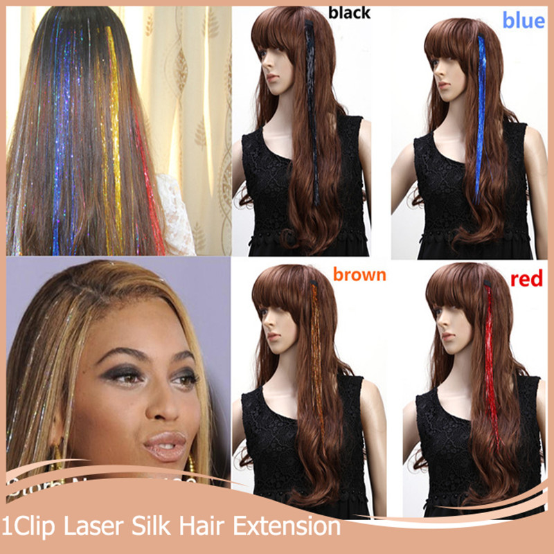 10pcslot 16inch Bellavia Tinsel Laser Hair Extensions Party Bling