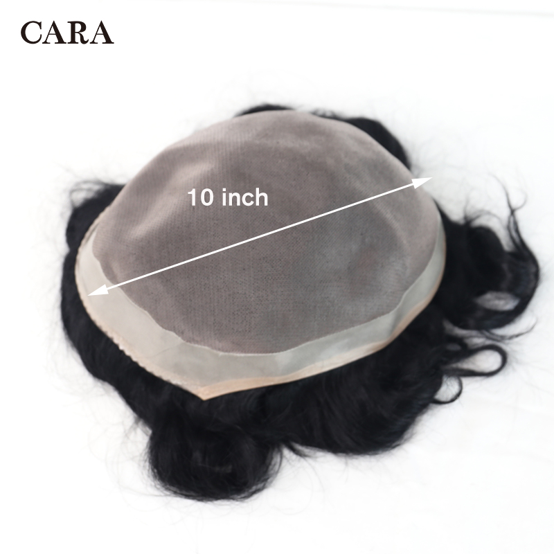 10x8 Men Hair Toupee Fine Mono With Wide Poly Perimeter Hair Replacement System Mono & PU Toupee Men Brazilian Remy Human Hair