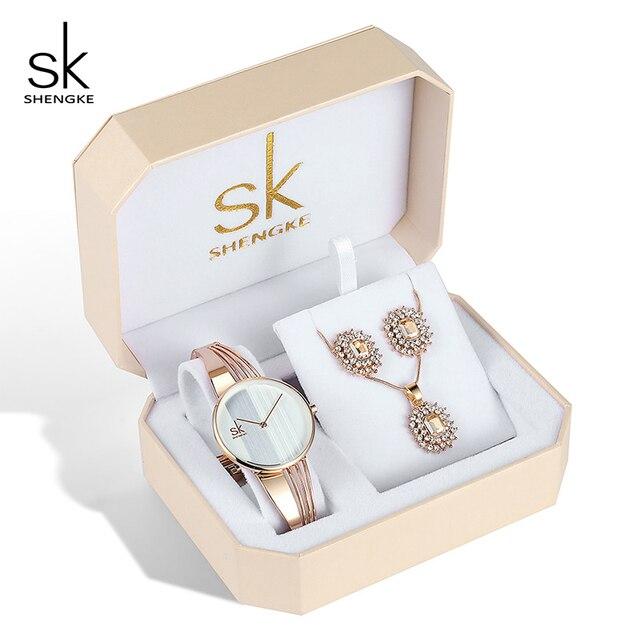 Shengke Rose Gold Uhren Frauen Set Luxus Kristall Ohrringe Halskette Uhren Set 2019 SK Damen Quarz Uhr Geschenke Für Frauen